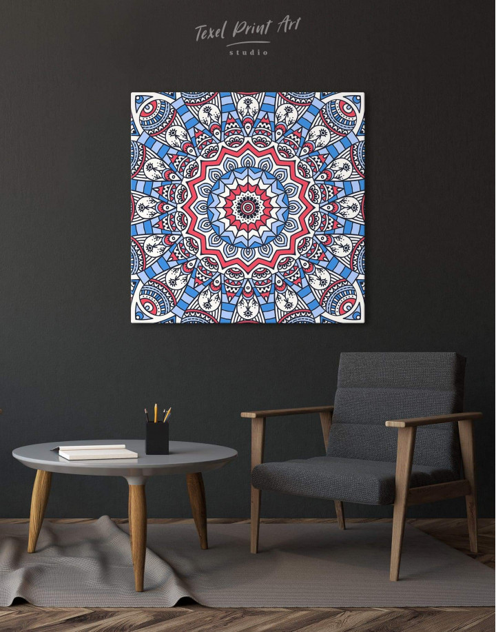 Blue Mandala Canvas Wall Art - Image 0