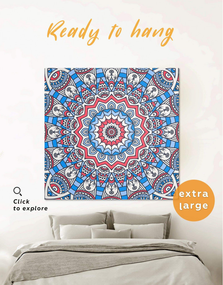 Blue Mandala Canvas Wall Art - Image 1