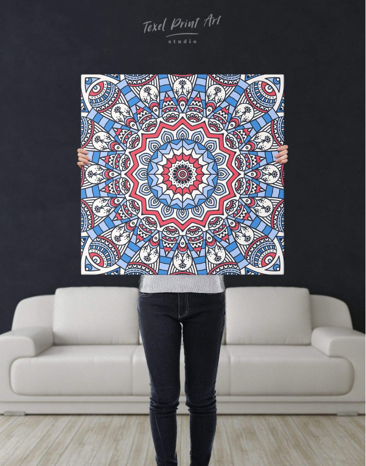Blue Mandala Canvas Wall Art - Image 2