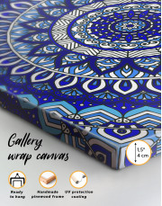Blue Bohemian Mandala Canvas Wall Art - Image 1