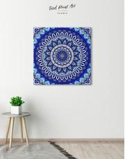 Blue Bohemian Mandala Canvas Wall Art - Image 3