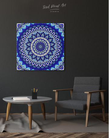 Blue Bohemian Mandala Canvas Wall Art