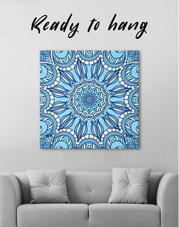Light Blue Indian Mandala Canvas Wall Art - image 1