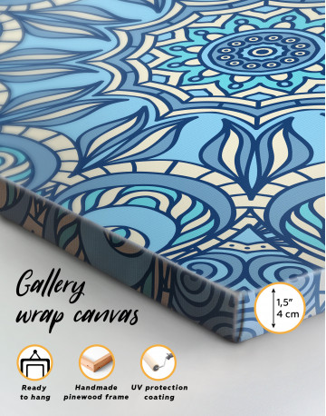 Light Blue Indian Mandala Canvas Wall Art - image 4