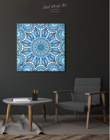 Light Blue Indian Mandala Canvas Wall Art - image 3