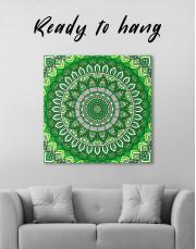 Zentangle Green Mandala Canvas Wall Art - Image 2