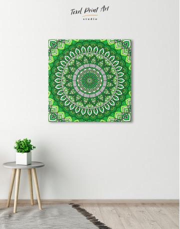 Zentangle Green Mandala Canvas Wall Art