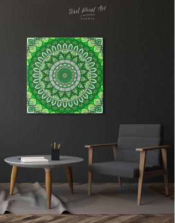 Zentangle Green Mandala Canvas Wall Art - image 4