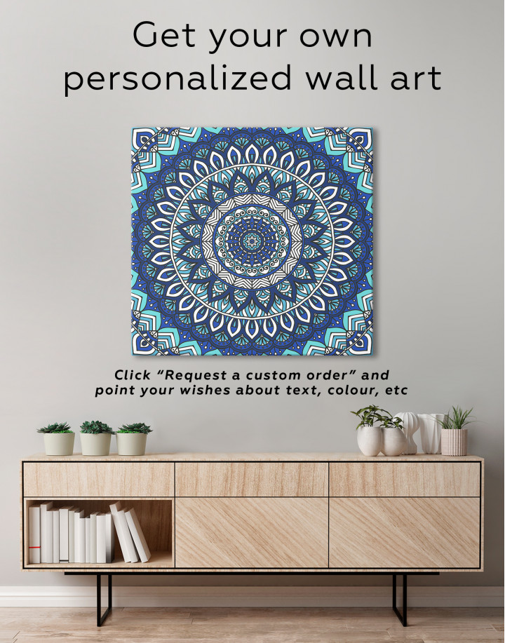Zentangle Green Mandala Canvas Wall Art - Image 1