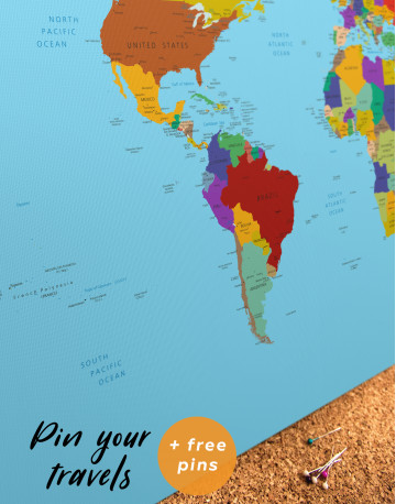 Multicolored Political World Map Canvas Wall Art - image 3