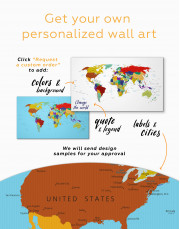 Multicolored Political World Map Canvas Wall Art - Image 2