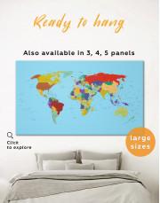 Multicolored Political World Map Canvas Wall Art