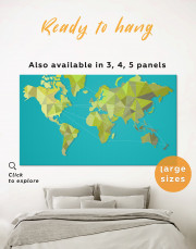 Geometric Green Map of the World Canvas Wall Art