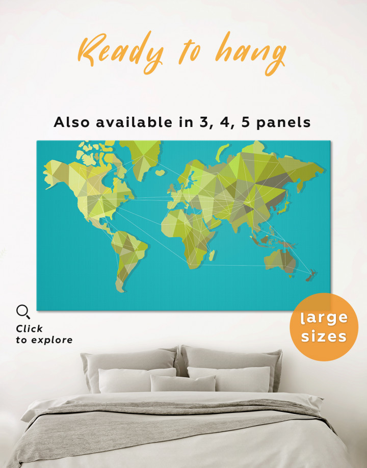 Geometric Green Map of the World Canvas Wall Art - Image 0