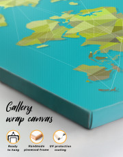 Geometric Green Map of the World Canvas Wall Art - Image 3