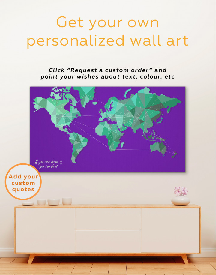 Geometric Green Map of the World Canvas Wall Art - Image 4