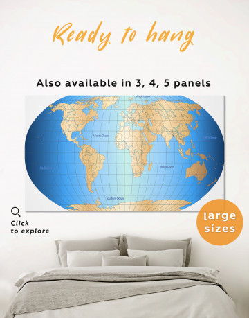 Abstract World Map With Oceans Canvas Wall Art