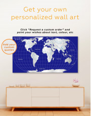 Abstract World Map With Oceans Canvas Wall Art - Image 4