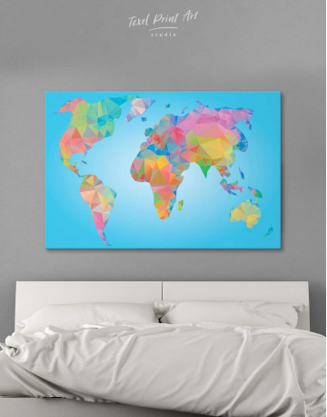 Abstract Geometric Map of the World Canvas Wall Art - image 6