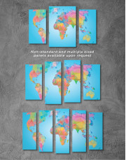 Abstract Geometric Map of the World Canvas Wall Art - Image 5