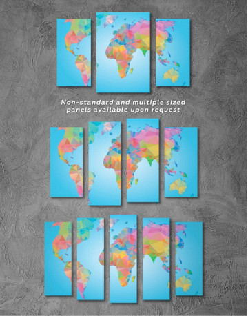 Abstract Geometric Map of the World Canvas Wall Art - image 2