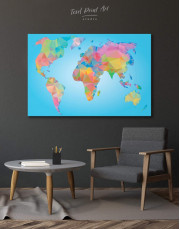 Abstract Geometric Map of the World Canvas Wall Art - Image 0