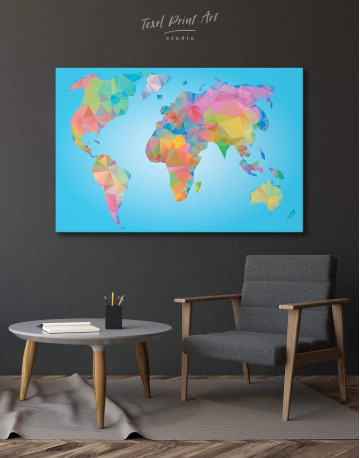 Abstract Geometric Map of the World Canvas Wall Art