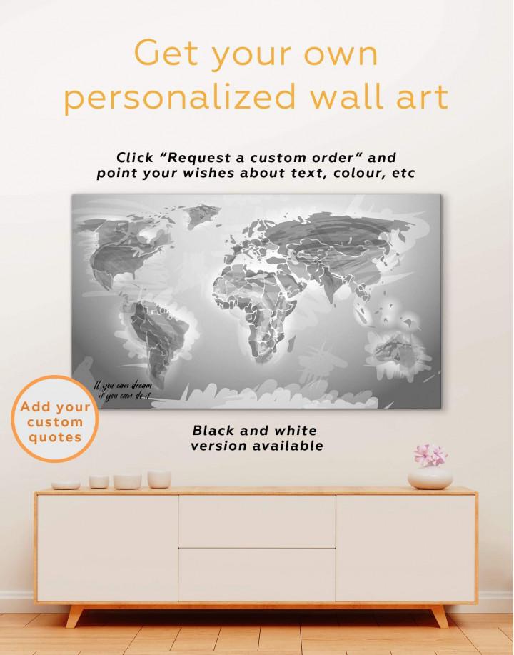 Green Physical World Map Canvas Wall Art - Image 6