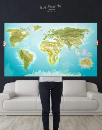 Green Physical World Map Canvas Wall Art - image 2