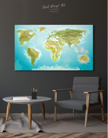 Green Physical World Map Canvas Wall Art