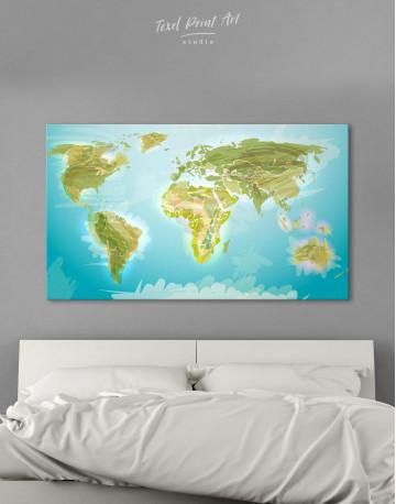 Green Physical World Map Canvas Wall Art - image 1