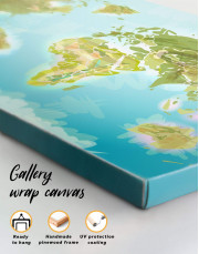 Green Physical World Map Canvas Wall Art - Image 3