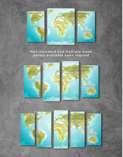 Green Physical World Map Canvas Wall Art - Image 5