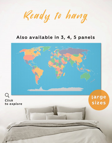 Abstract Multicolor World Map Canvas Wall Art