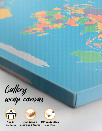 Abstract Multicolor World Map Canvas Wall Art - image 3
