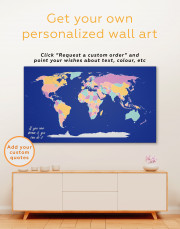 Abstract Multicolor World Map Canvas Wall Art - Image 4