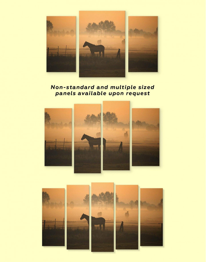 Horse on Pasture Canvas Wall Art - Image 3