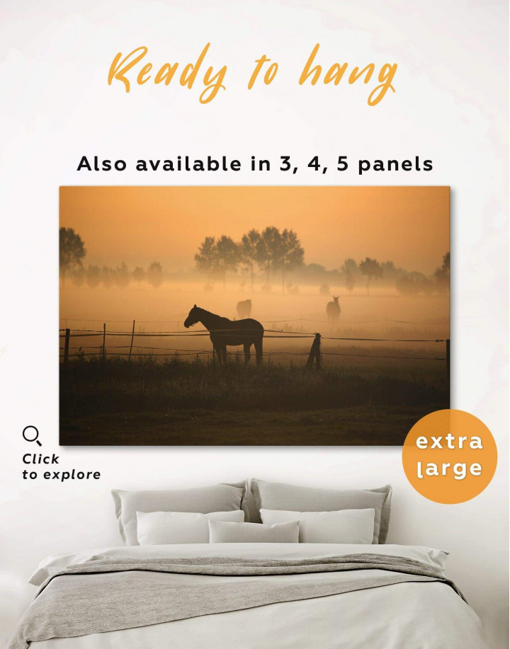 Horse on Pasture Canvas Wall Art