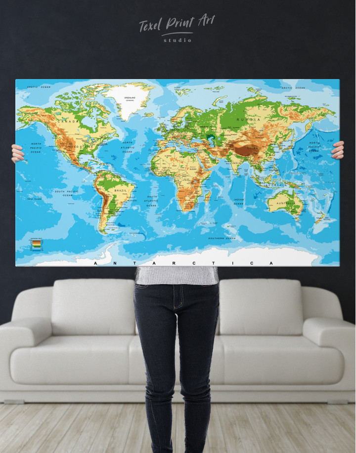 Physical World Map with Countries Canvas Wall Art - Image 5