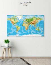 Physical World Map with Countries Canvas Wall Art