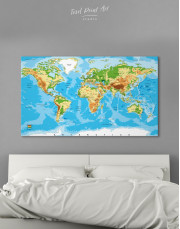 Physical World Map with Countries Canvas Wall Art - Image 7