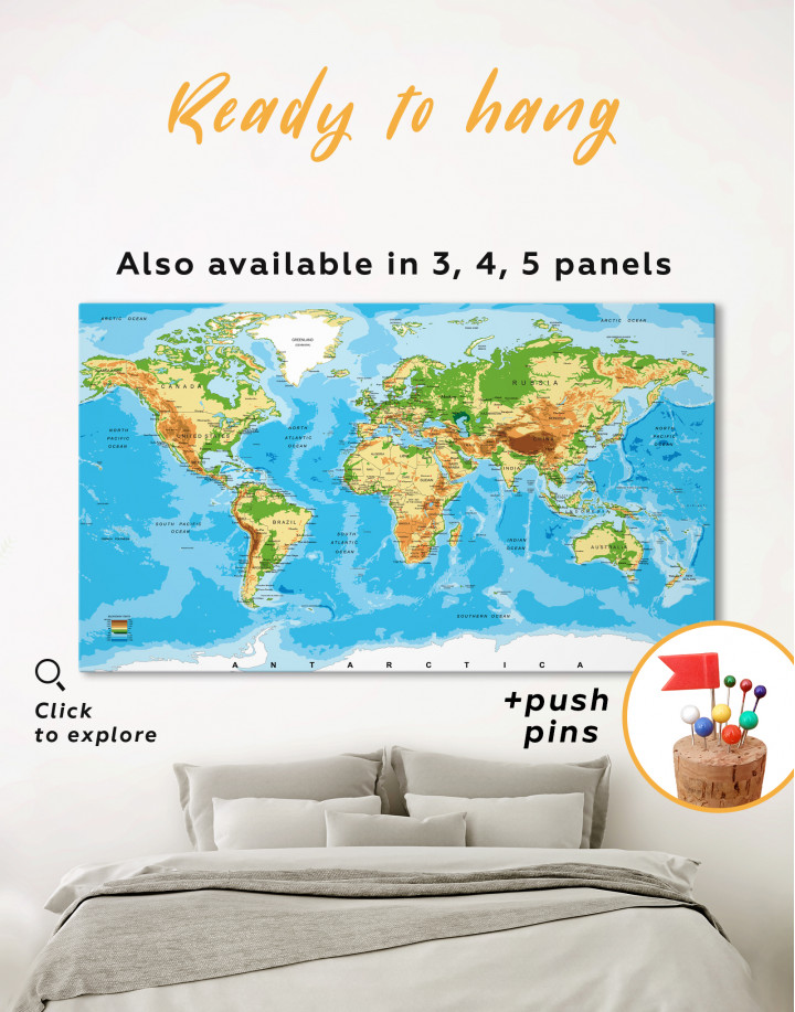 Physical World Map with Countries Canvas Wall Art - Image 6