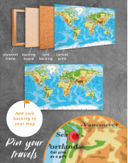 Physical World Map with Countries Canvas Wall Art - Image 4