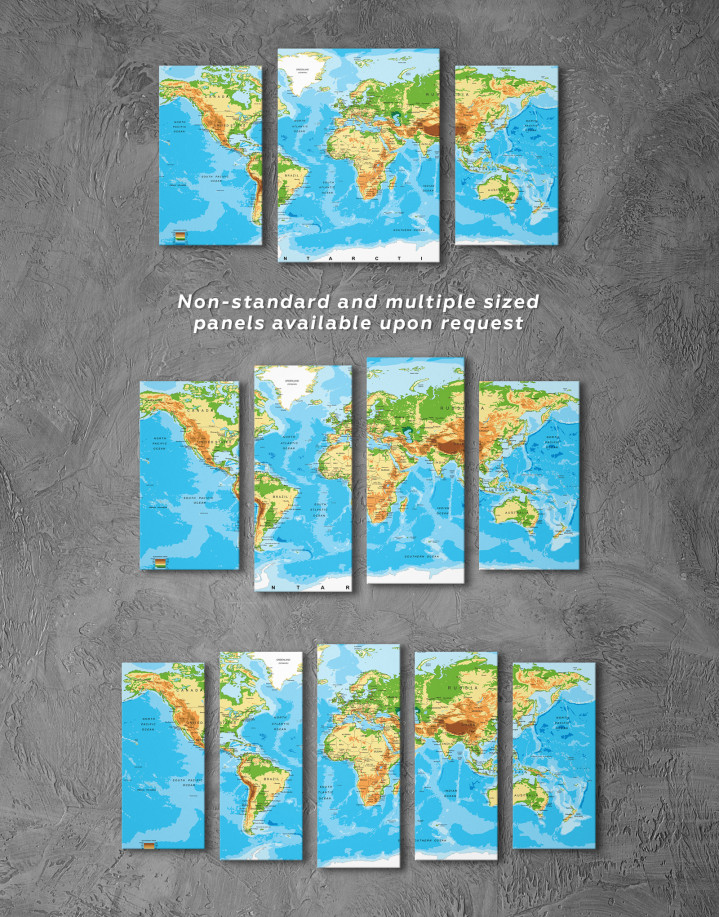 Physical World Map with Countries Canvas Wall Art - Image 2