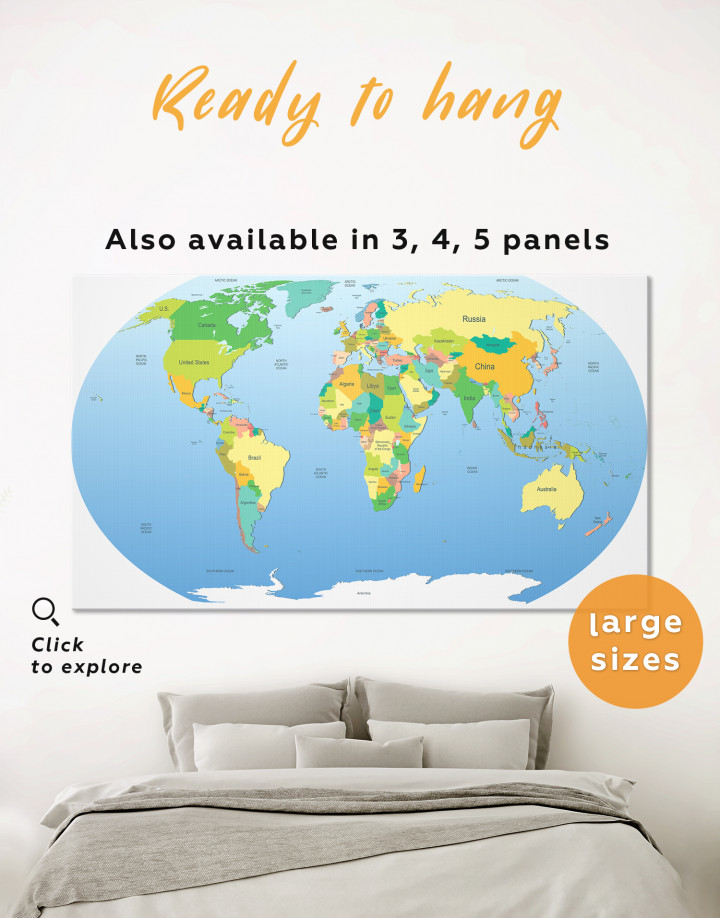 Map of the World with Countries Canvas Wall Art