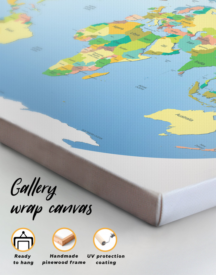 Map of the World with Countries Canvas Wall Art - Image 3