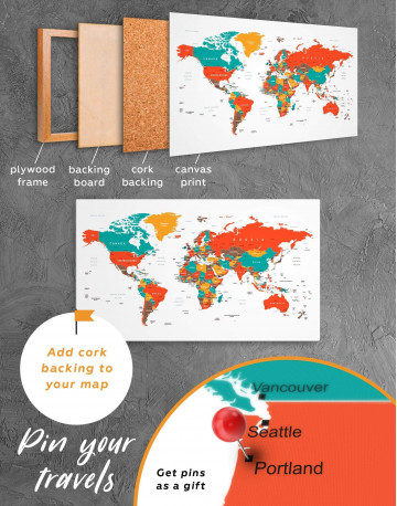 Modern World Map With Pins Canvas Wall Art - image 3