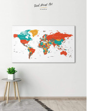 Modern World Map With Pins Canvas Wall Art - Image 1
