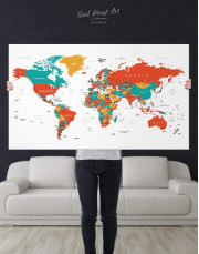 Modern World Map With Pins Canvas Wall Art - Image 2