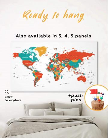 Modern World Map With Pins Canvas Wall Art